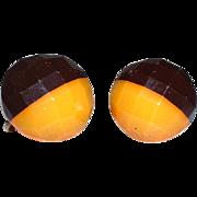 Vintage BAKELITE Black and Caramel Facetted Screwback Earrings