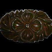 Vintage BAKELITE Carved Oval Floral Pin Brooch
