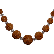 Vintage Carved BAKELITE and Crystal Bead Necklace