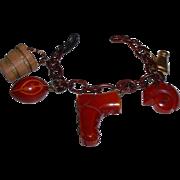 Vintage BAKELITE Football Themed Charm Bracelet