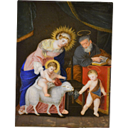 Early 19th c Religious Painting on Glass