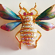 GRAZIANO Huge Flying Moth Brooch in Beautiful Colors