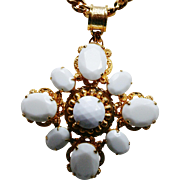 LARRY VRBA Huge Milk Glass Necklace Signed