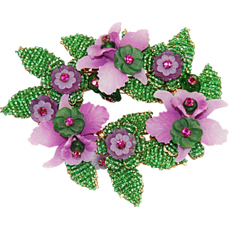 Huge Orchid 4 1/4 Inch Brooch Glass Beaded Signed Stanley Hagler and Ian St. Gielar