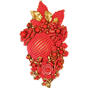 Large Glass Beaded and Coral Brooch by Ian St. Gielar and Stanley Hagler