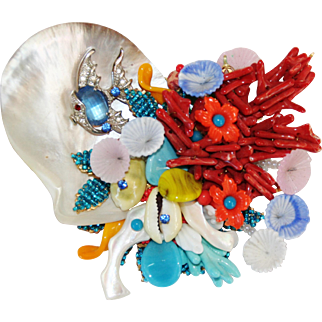 Signed Stanley Hagler and Ian St. Gielar in this Beautiful Sea Brooch with Fish, Coral, Shells and Glass