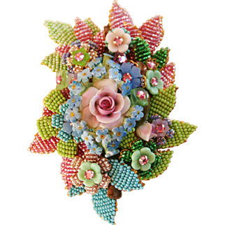 Huge 5 Inch Intricately Glass Beaded Brooch with Ceramic Rose in the Center Signed Stanley Hagler and Ian St. Gielar