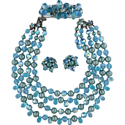 Vintage DeMario Aqua Crystals and Beads Necklace, Bracelet, Earrings Parure
