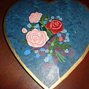 Vintage VALENTINE  Heart Shaped Candy Box Painted Stripes and Flowers