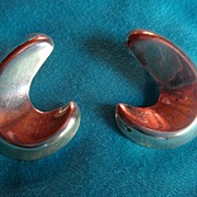 Mexico Sterling  Silver Earrings Dimensional Crescent  Moon Large