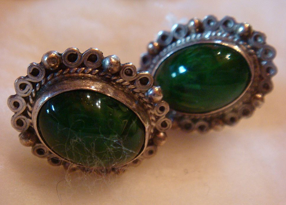 Sterling Silver and Green Malachite Screw On Earrings: Mexico: Marked