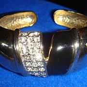 Double Hinged Clamper Bracelet Enamel Rhinestones