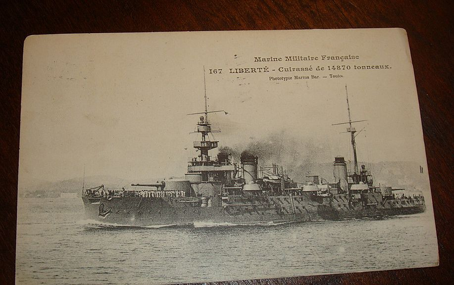 1909 French Warship Real Picture Postcard Sent to Princeton, KY