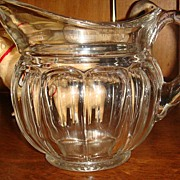 Beautiful Paneled Clear Glass Pitcher Colonial Style