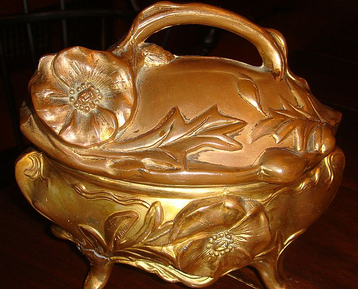 Large Ornate Art Nouveau Jewelry Casket Gold Wash or Gold Gilt