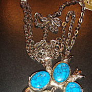 Native American Squash Blossom Style Faux Turquoise Necklace Signed ART