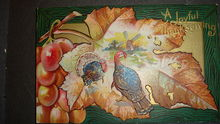 Fall Colors, Leaves, Turkey, Windmill, Embossed Thanksgiving Postcard SAMPLE - Red Tag Sale Item