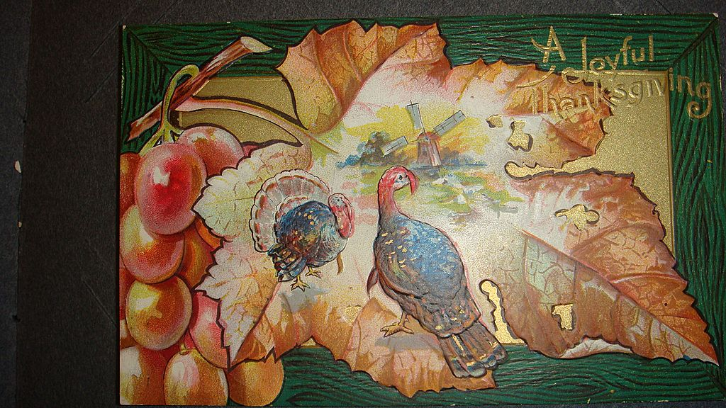 Fall Colors, Leaves, Turkey, Windmill, Embossed Thanksgiving Postcard SAMPLE