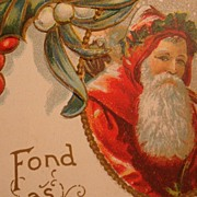 Early 1900's Embossed Christmas Postcard Framed Santa, Holly Leaves & Berries