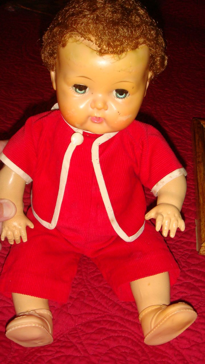 American Character 1950's Tiny Tears Doll in Red Corduroy Romper & Jacket Still Cries