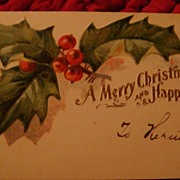 Early 1900's Embossed Gift Card or Greeting Card Holly Leaves & Berries