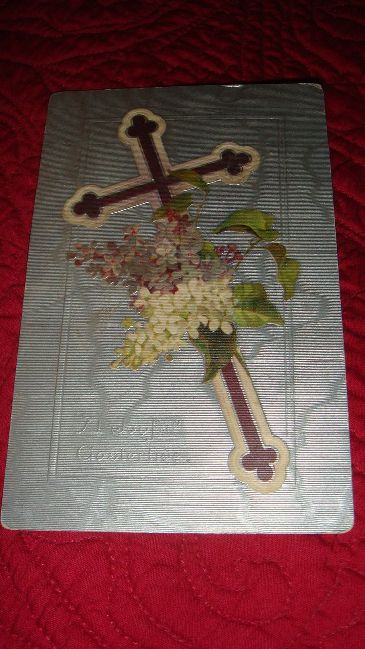 1909 Raphael Tuck Joyful Eastertide Embossed Postcard with Cross, Flowers