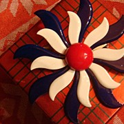 Very Large Patriotic Red, White & Blue Enamel Flower Brooch Modernist