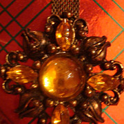 Dangle Brooch / Pin Mesh Art Nouveau Cabochons & Rhinestones Golden Yellow Topaz or Amber