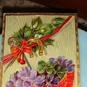 1912 Happy New Year Postcard Parasol Full of Purple Violets & 4 Leaf Clovers + Horseshoe Made in Germany