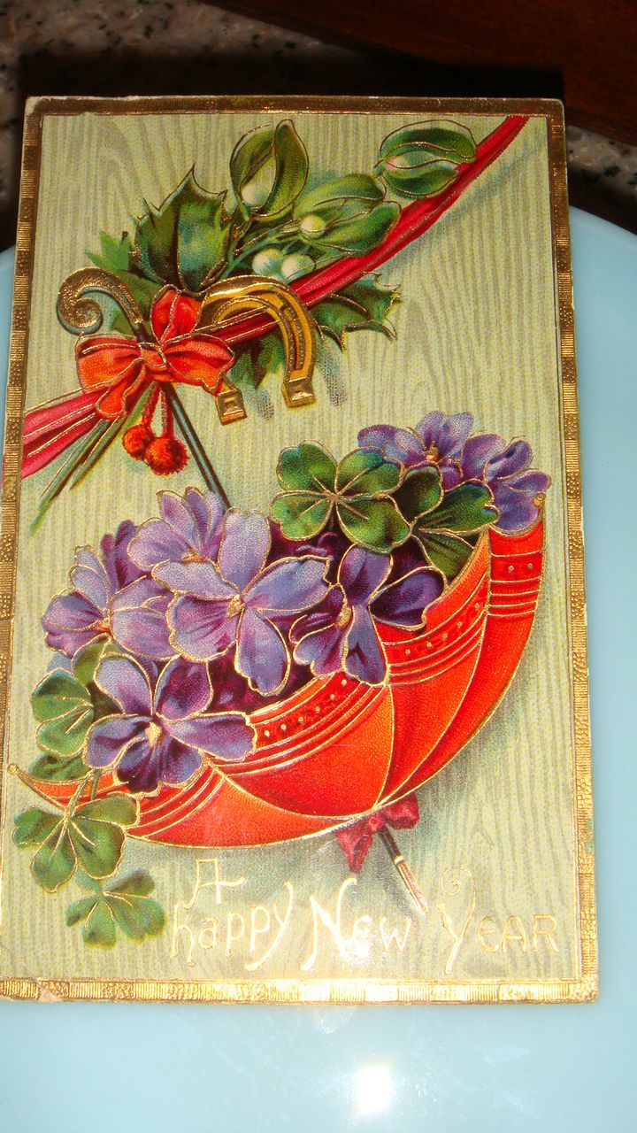 1912 Happy New Year Postcard Parasol Full of Purple Violets, 4 Leaf Clovers + Horseshoe Made in Germany