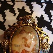 Vintage Antiqued Goldtone Frame Porcelain Portrait Brooch Pendant