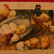 Early 1900's Easter Greetings Embossed Postcard Printed in Germany: Hens, Hatched Chicks & Eggs