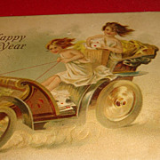 Cool 1907 Happy New Year Postcard 3 Victorian Delivery Girls or Cherubs Driving Coach Fast!