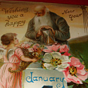 1908 Father Time New Year's Postcard Raphael Tuck & Son, Angel,  Dogwood Blossoms