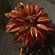 LONG Mechanical Pink & Green Enameled Dimensional  Flower Brooch Aurora Borealis Rhinestones