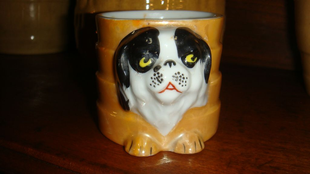 Small But Adorable Child's Cup or Shaving Mug Pekingese Puppy Dog Japan Lustreware