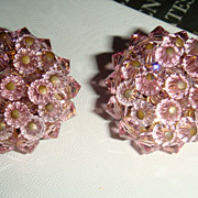 Pink Crystal Clip Earrings Costume Jewelry