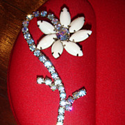 1950's  Long Bending Flower Brooch White Glass and Aurora Borealis