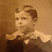 Cabinet Card Photograph Young Boy in Victorian Clothing Wavy Hair
