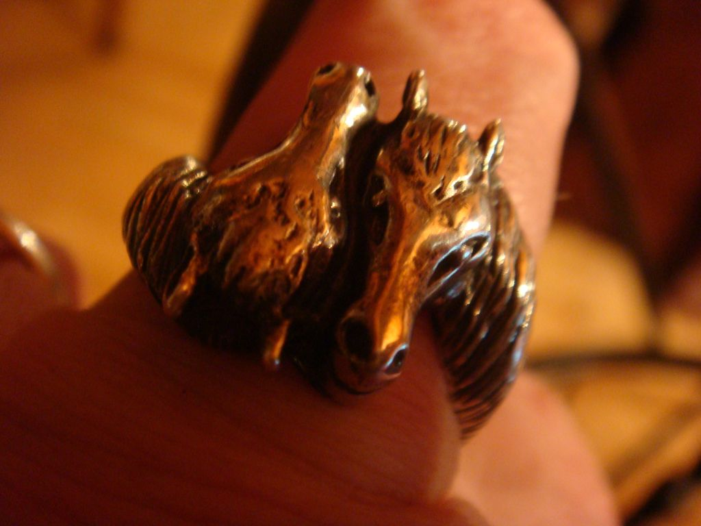 Wonderful Duo Horse Sterling Silver Ring  Size 11, Figural Horse Heads for Lady or Gentleman