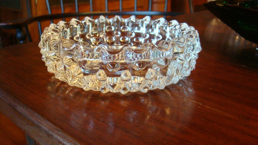 Clear Crystal Hobnail Vintage Ashtray Tobacciana