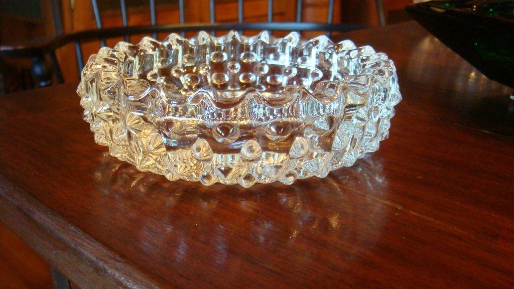 Clear Crystal Hobnail Vintage Ashtray Tobacciana Collectible!