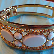 Goldtone Filigree Clamper Bracelet With Milky White Cabochons & Faceted Stones
