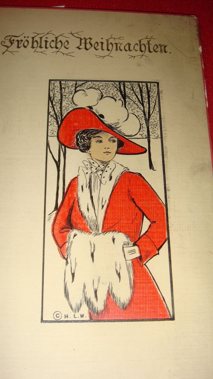 "European/German ""Frohliche Weihnachten"" Beautiful Lady in Red With White Fur Muff, Collar and Hat Trim, Snow Scene H. L. W."