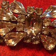 CZECH Clear Crystal and Smoky Rhinestones Vintage Bow Brooch