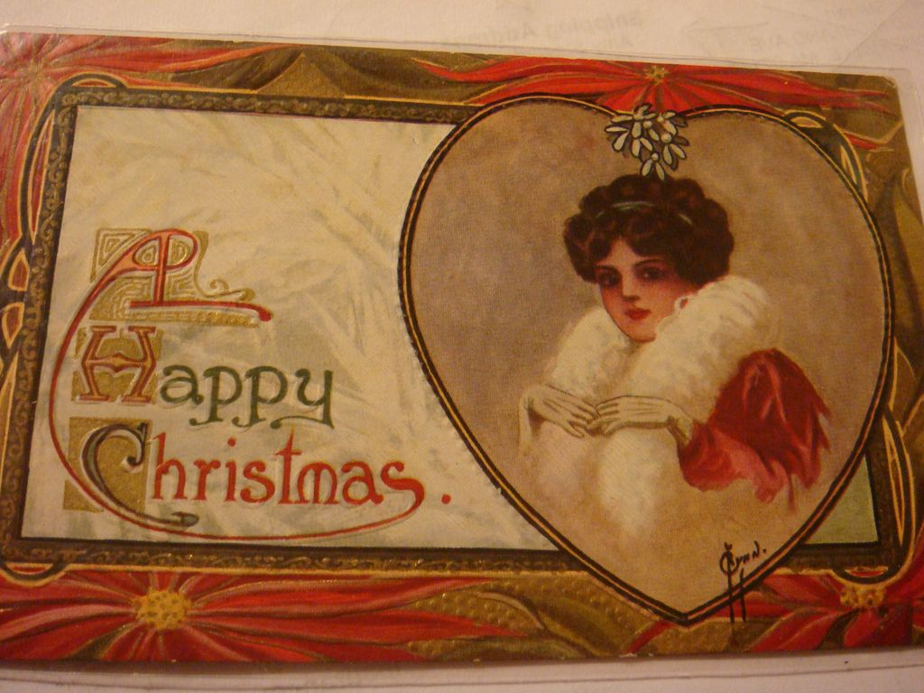 Early Embossed Christmas Postcard Lady in Red, White Fur, Gloves, Heart, Mistletoe, Poinsettia