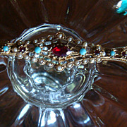 "3 3/4"" Long Victorian or Art Deco Inspired Arrow/Bar Pin or Brooch Faux Turquoise, Seed Pearls & Ruby Red Rhinestones 'ART'"
