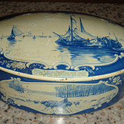 Blue and White 'Droste Haarlem Holland' Vintage Tin Sailboats, Cattle, Sheep, Windmills