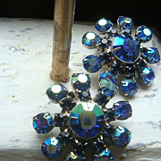 Carnival Glass Like Blue Aurora Borealis Prong Set Clip Earrings