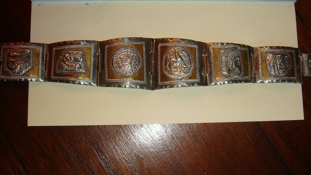 Sterling Mexico Native American Southwest Tribal Bracelet With Gold Wash or Brass